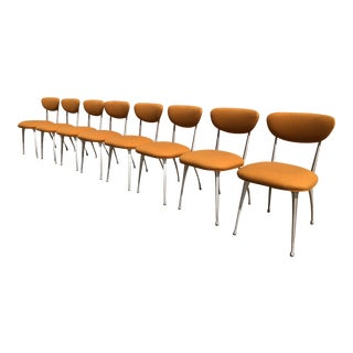 Set of Eight Yellow Modernica Dining Chairs