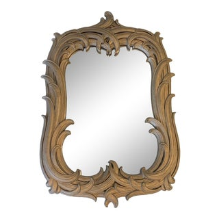 Vintage Syroco Wood Carved Wheat Sheath Wall Mirror For Sale