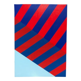 Large Scale Abstract Original Hard Edge Blue and Red Painting by Jonathan Marquis For Sale