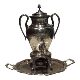 Antique Samovar & Serving Tray