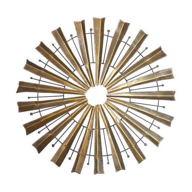 Vintage Brutalist Brass Sunburst For Sale