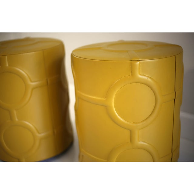 2010s Mustard Yellow Leather Drum Table For Sale - Image 5 of 7