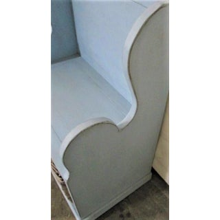 Blue Entry Bench With Wicker Basket Cute Modern Farmhouse Preview