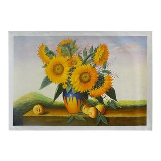 Oil Paint Canvas Art Portrait Beautiful Sunflower Wall Decor For Sale