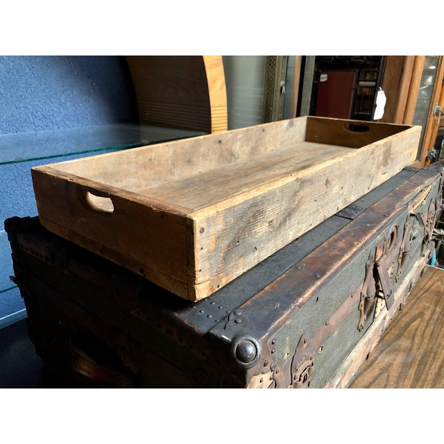 Vintage P & S Co. Wood Leather and Metal Trunk For Sale - Image 10 of 11