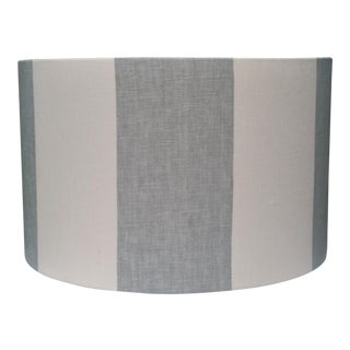 Coastal Blue Off White Stripe Cotton Linen Lampshade For Sale
