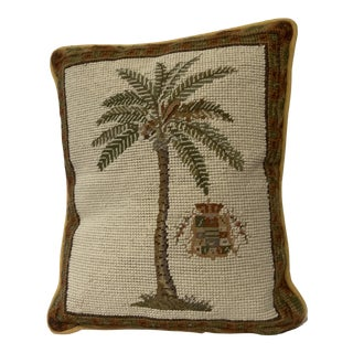 Vintage Needlepoint Palm Tree Coat of Arms Pillow For Sale