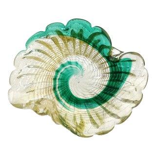 Murano Vintage Green Swirl Paint Stroke Gold Flecks Italian Art Glass Mid-Century Bowl Dish For Sale