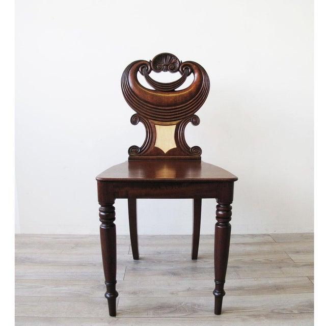 English Traditional English Regency Mahogany Hall Chair For Sale - Image 3 of 6