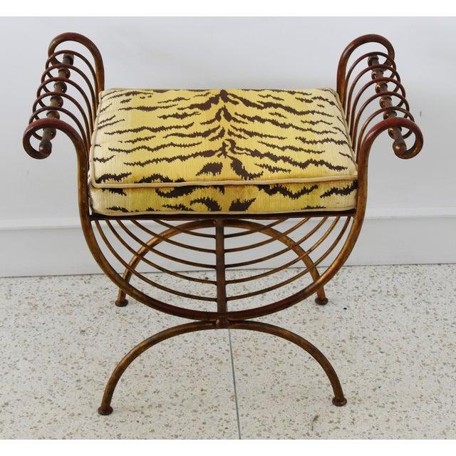 Gold Scalamandre Velvet Tiger Hollywood Glam Italian Gilt Vanity Bench For Sale - Image 8 of 13