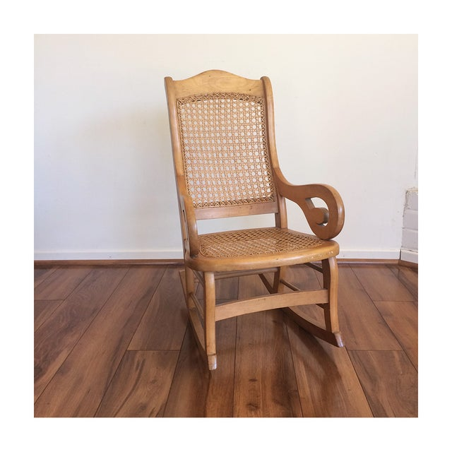 Childs Rocking Chair With Caned Back - Image 3 of 6
