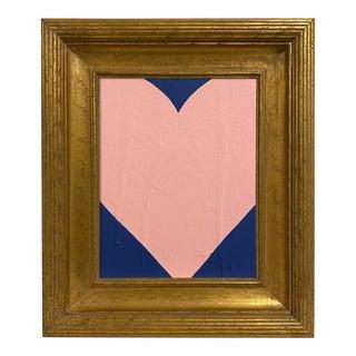 Ron Giusti Mini Heart Navy Blush Painting, Framed For Sale