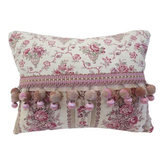 19th C. French Wool & Silk Tassels Pillow For Sale