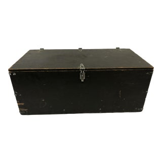 Vintage Military Wood Foot Locker Trunk For Sale
