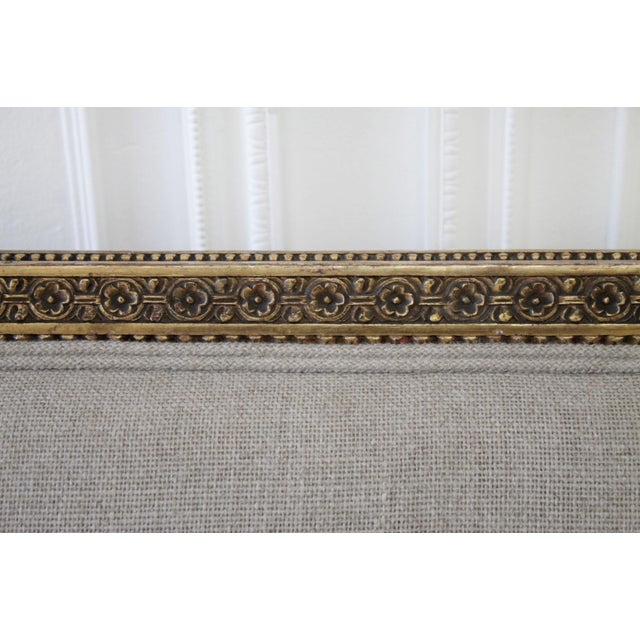 French Antique Louis XVI Style Giltwood Settee in Linen For Sale - Image 3 of 13