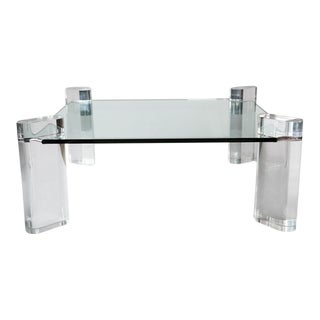 Karl Springer, Glass and Lucite Low Table, Usa, 1970s For Sale