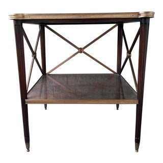 Theodore Alexander Eglomise Walnut End Lamp Table With Lower Shelf, Glass and Brass Accents For Sale