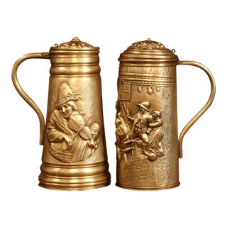 Pair of 19th Century Belgium Brass Beer Pitchers With Lid and Repousse Decor For Sale