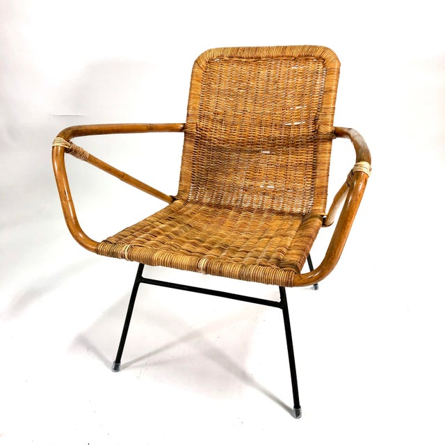 Mid Century Italian Rattan Lounge Chair For Sale - Image 12 of 12