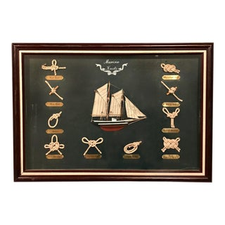 Vintage Nautical Knots and Boat Framed Shadow Box For Sale