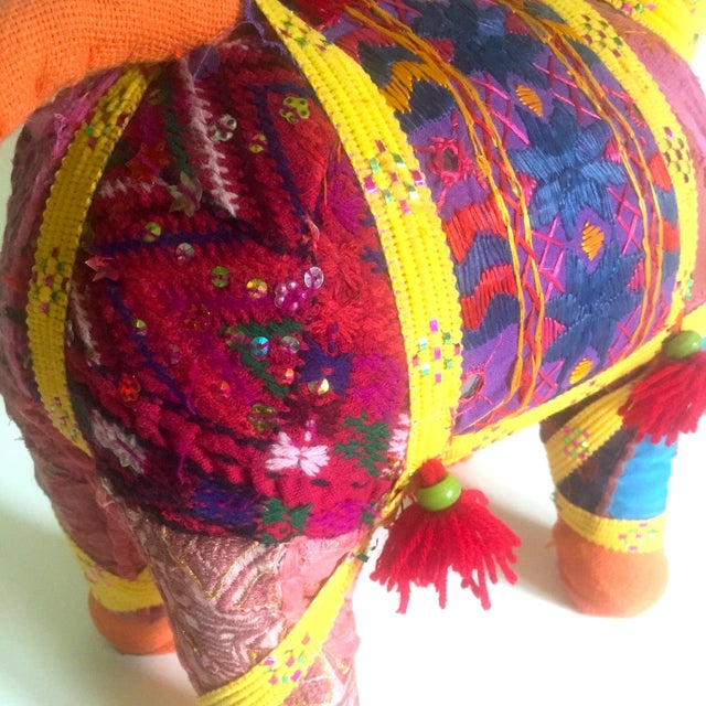 Blue Vintage Indian Patchwork Elephant Figurine For Sale - Image 8 of 11