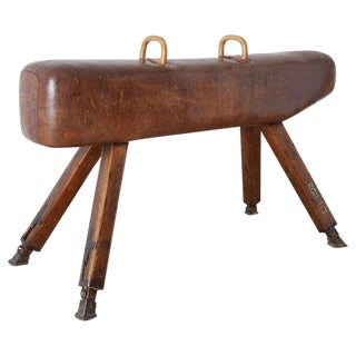 19th Century English Leather Gymnastic Pommel Horse For Sale