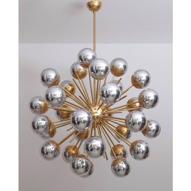 1 of 2 Exceptional Huge Sputnik Murano Glass and Brass Chandelier For Sale - Image 6 of 6