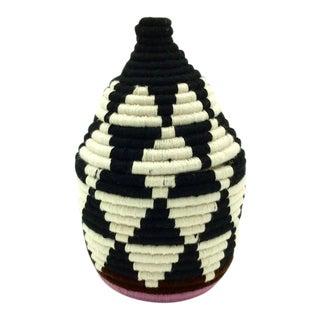 Black & Ivory Moroccan Wool Basket