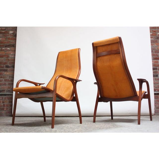 Yngve Ekström Pair of Swedish Teak and Leather 'Lamino' Chairs by Yngve Ekström For Sale - Image 4 of 13