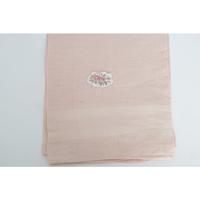 Vintage Fine Cotton Pink Crocheted Guest Towel For Sale - Image 9 of 9