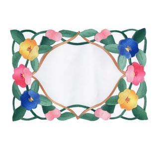 1950s Cottage Floral Hand Stitched Placemats in Pink Green Blue and Yellow - Set of 4 Preview