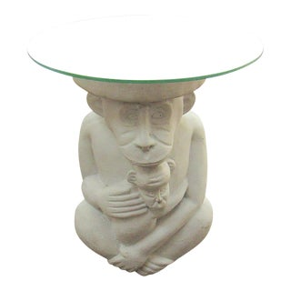 1980s Boho Chic Monkey Glass Topped Accent Side Table For Sale