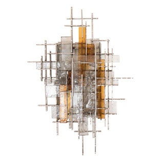 Single Chromed Steel, Amber, and Frosted Glass Sconce by Poliarte For Sale