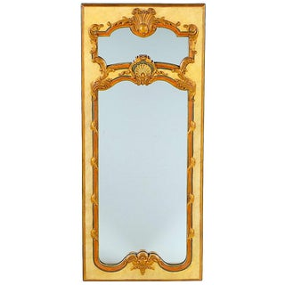 Vintage French Trumeau Polychrome Gilt Mirror For Sale