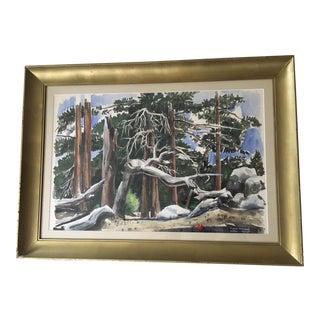 Late 20th Century Arthur Clough Forest Primeval Watercolor Painting For Sale