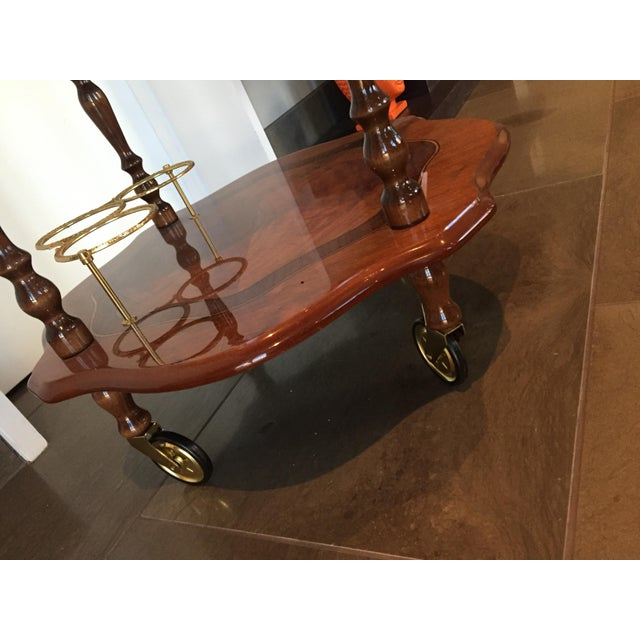 Handmade Italian Burled Wood and Inlay Bar Cart With Two Matching Trays - Image 4 of 11
