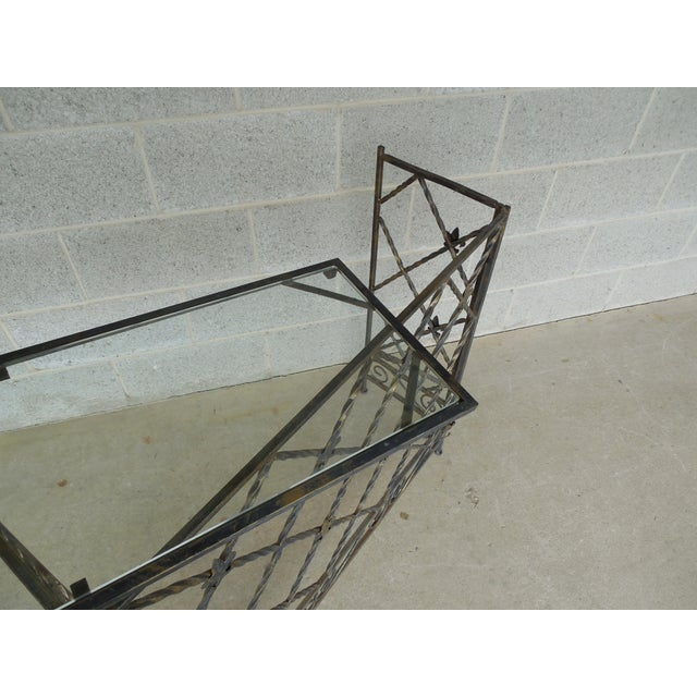 "Late 20th Century Designer French Style Heavy Wrought Iron Glass Top Console 35""w X 12""d For Sale - Image 5 of 13"