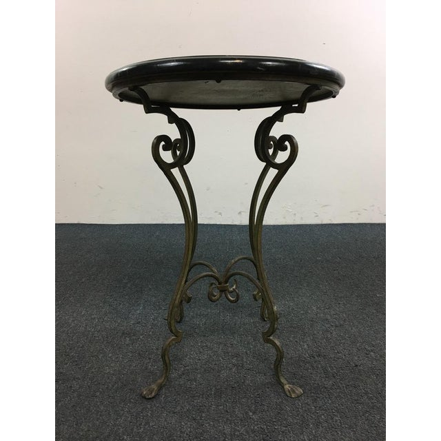 Contemporary Metal Scroll Marble Top End Table - Image 2 of 4