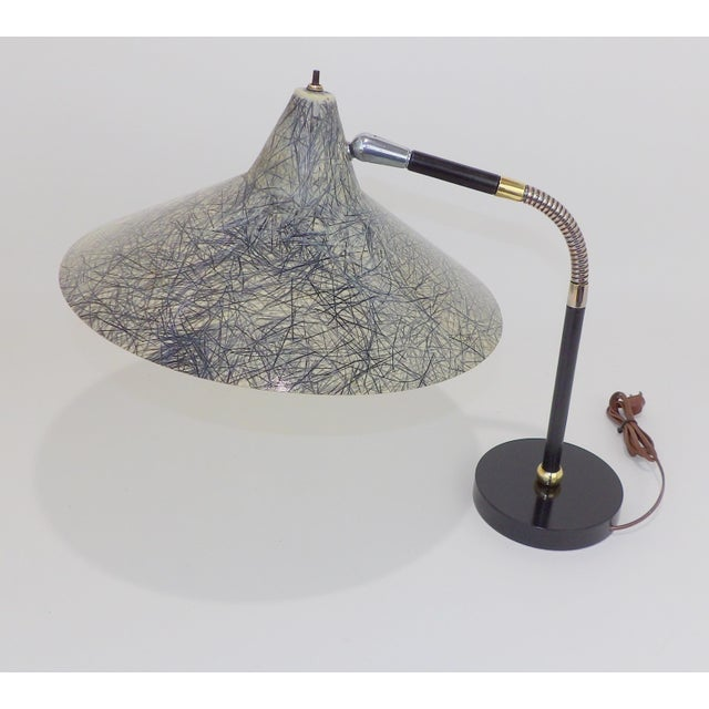 Gerald Thurston Flying Saucer tanker articulating desk lamp with fiberglass shade Perfect lamp for a modern office....
