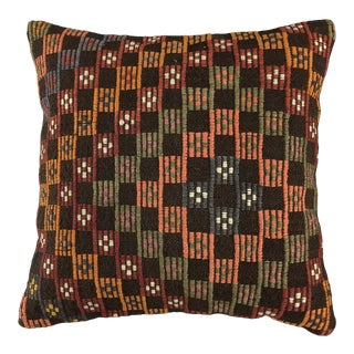 "Checkered Charcoal Vintage Kilim Pillow | 20"" For Sale"