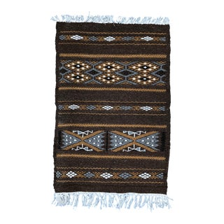 Hand-Loomed Berber Wool Accent Rug From Algeria, Geometric Brown and Tan For Sale