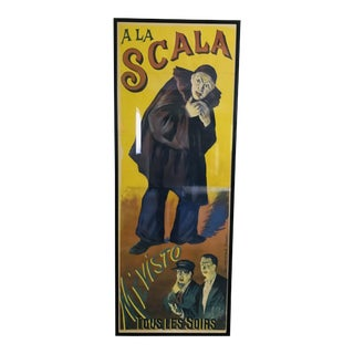 Antique French a La Scala Mévisto Framed Poster For Sale