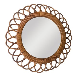 Mid Century French Bamboo Sunburst Mirror For Sale