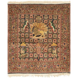 Early 20th Century Antique Persian Kazvin Rug - 3′7″ × 4′ For Sale
