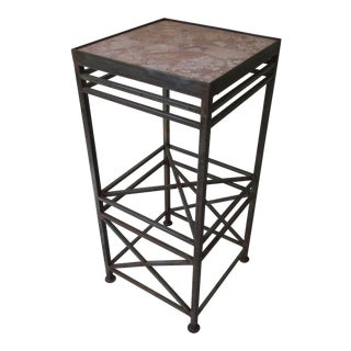 Vintage Modernist Architectural Style Steel Stand With Marble Top For Sale