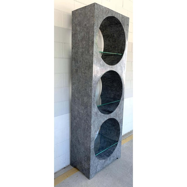 Modern Tessellated Stone Monolithic Bookcase / Vitrine For Sale - Image 4 of 13