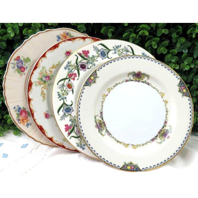 """Mismatched Vintage 8"""" Dessert Plates - Set of 4 - Image 7 of 7"""