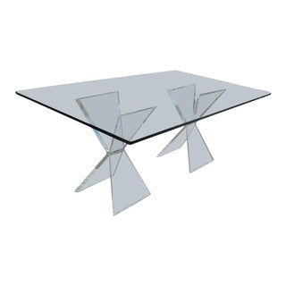 1970s Art Deco Glam Lucite X Base Dining Table