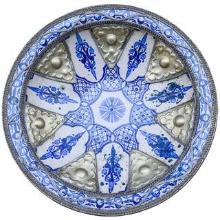 Moorish Ceramic Plate W/ Fine Filigree For Sale