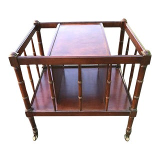 1980s Hekman Traditional Faux Bamboo Mahogany Magazine Rack For Sale